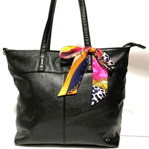 Handbags - BLACK LEATHER TOTE BAG - SCARF INCLUDED
